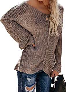 Dokotoo Womens Loose V Neck Cold Shoulder Sleeves Knitted Sweater Top Blouse