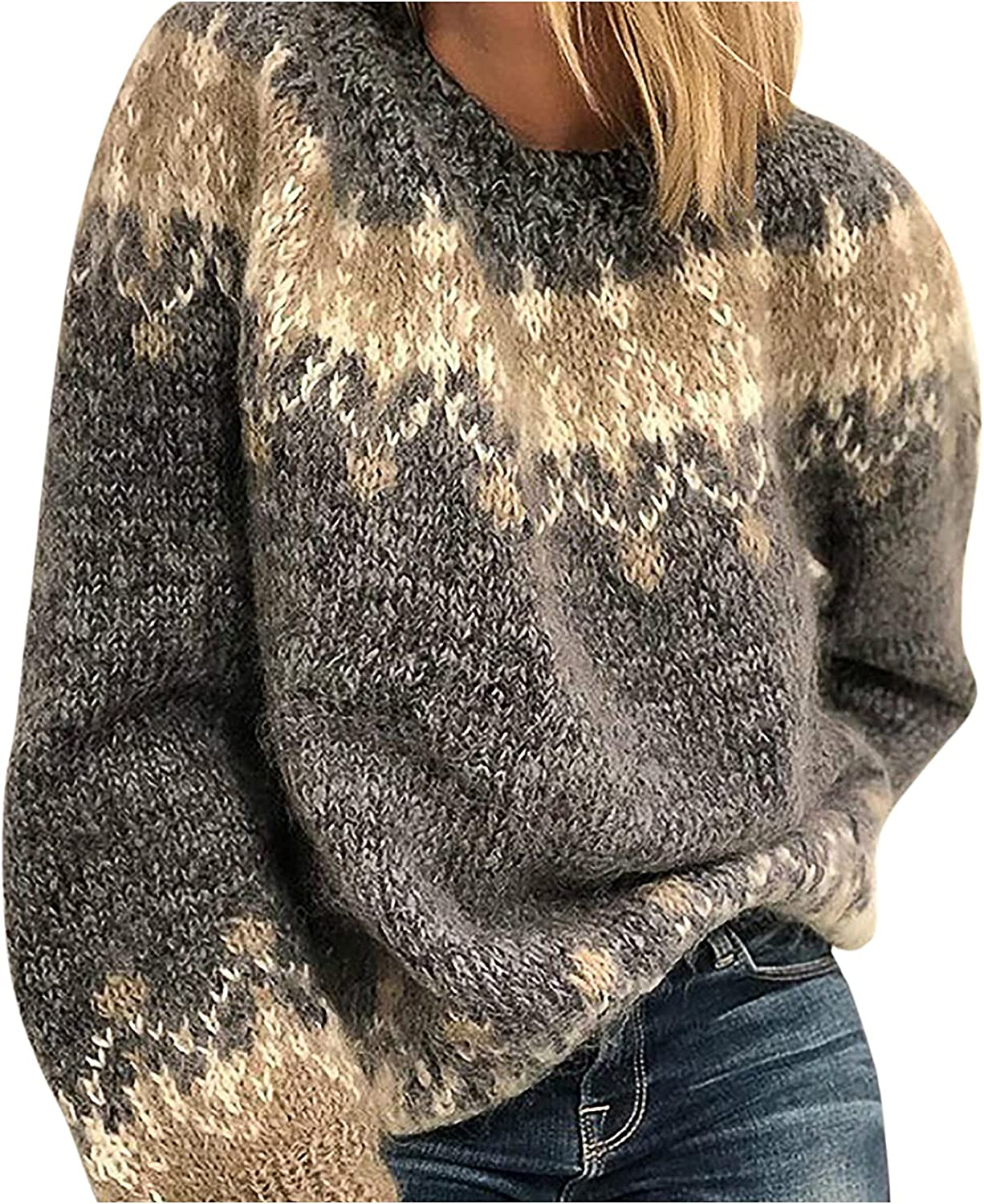 Women Casual Knitted Sweater Large Sizes Loose Printed Long Sleeve O-Neck Blouse Mohair Chunky Jacquard Winter Top