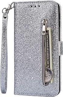 جراب محفظة EnjoyCase لهاتف Galaxy A72، تصميم جيوب بطاقة بسحاب لامع ولامع ولامع مع شريط للكتب، غطاء قلاب مغناطيسي لهاتف Sam...