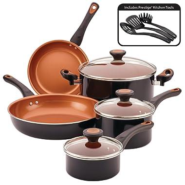 Farberware Glide Dishwasher Safe Nonstick Cookware Pots and Pans Set, 11 Piece, Black