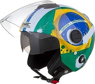 Pro Tork Capacete New Atomic Brasil 58 multicor (Amarelo/Verde/Azul)
