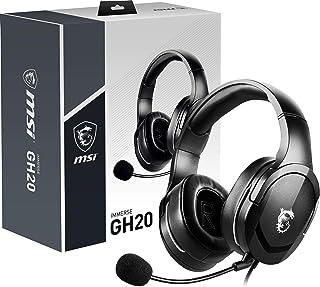 MSI IMMERSE GH20 - Auriculares Gaming con micrófono (compatibilidad multiplataforma, 40 mm neodimio Altavoz, Trenzado Cabl...