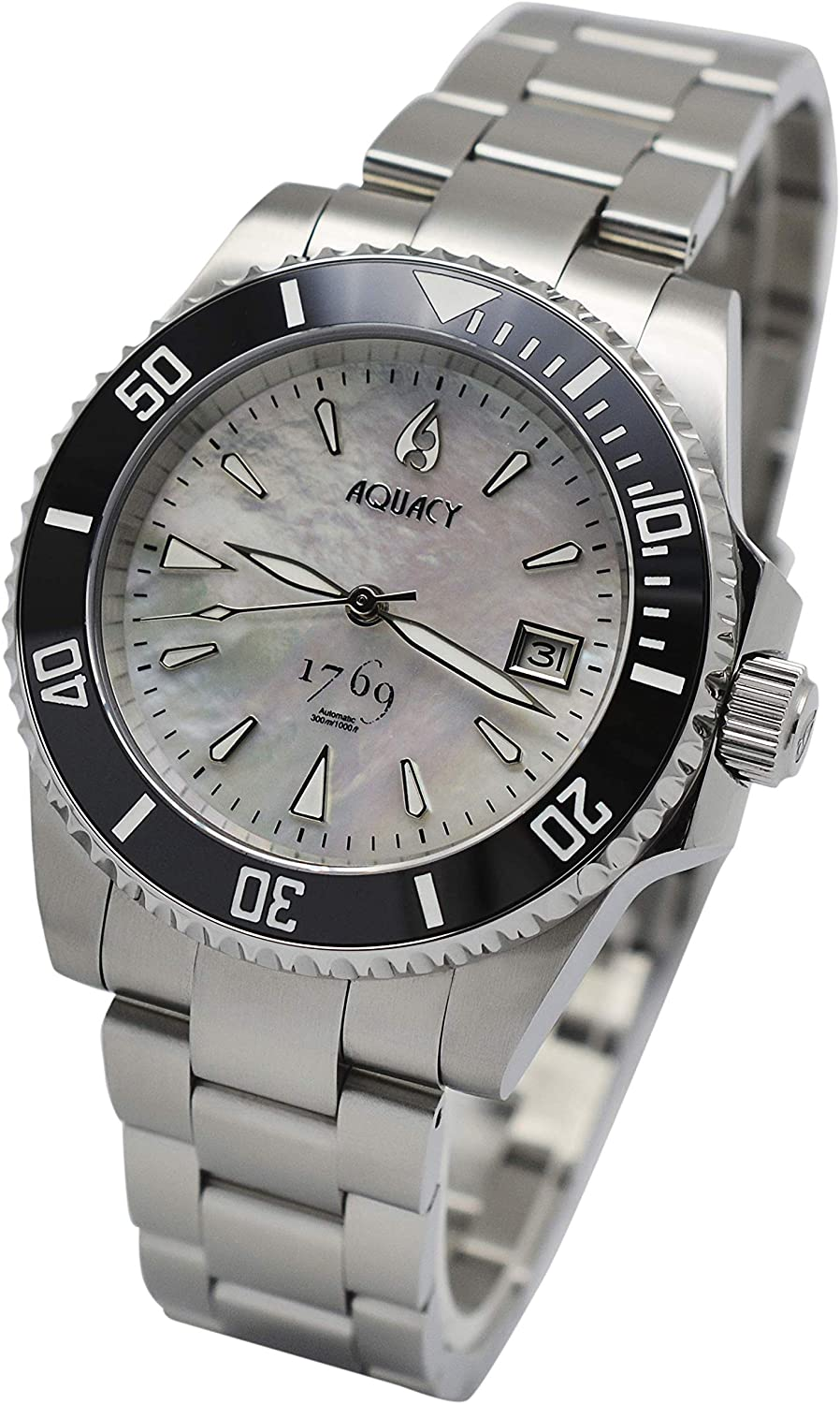 Aquacy 1769 Fees Free shipping on posting reviews free Limited Edition Diver White Watch 300M Waterproof -