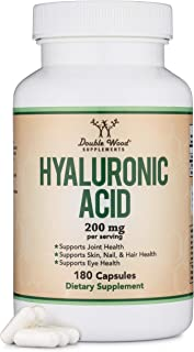 Hyaluronic Acid Supplement -180 Capsules (Enhances Effects of Hyaluronic Acid Serum for Face) 200mg Per Serving for Skin a...