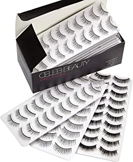 Celeb Beauty Eyelash Splashes 100 Pair Faux Lashes Variety Pack – Reusable Fake Eyelashes in 10 Styles – Hypoallergenic Strip False Lashes Set with Soft Natural, Fluttery Wispies, Dramatic Falsies