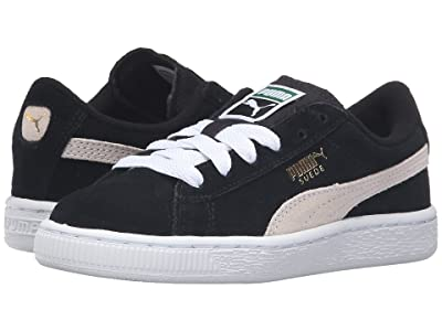PUMA Kids Suede PS (Little Kid/Big Kid) (Puma Black/Puma White) Boys Shoes