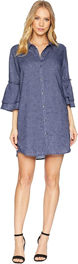 Chambray Ruffle Sleeve Shirtdress