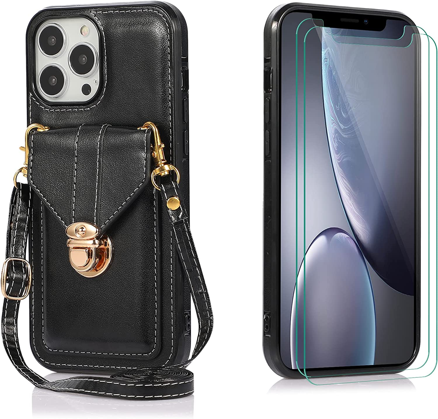 Futanwei Crossbody Slim Wallet Cases Compatible for iPhone 13 Pro Case with [2 Pack] Tempered Glass Screen Protector, Luxury Women's Card Holder Case with Crossbody Strap Lanyard, Black