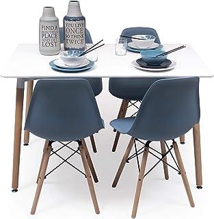 Conjunto de Comedor Tower con Mesa lacada Blanca y 4 sillas de diseño nórdico (120x80 Azul Horizonte)