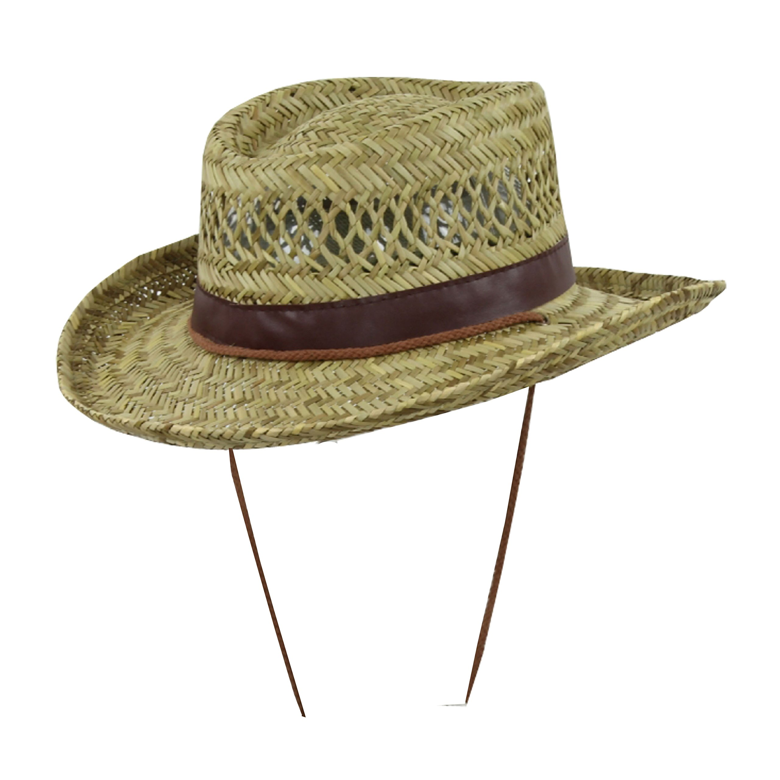 Classic Straw Flat Top Gambler Sun Hat w/ Vegan Leather and Chin Strap
