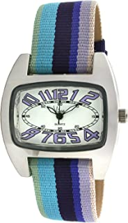 Viva Silver-Tone Purple Number Dial Multi-Color Grosgrain Strap Watch #V2390PR