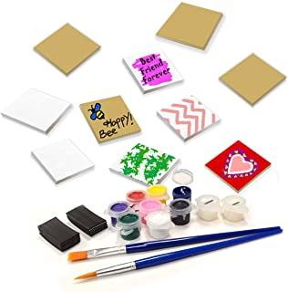 VHALE Paint Your Own Magnetic Fiberboard Tile Art, 10 Sets of MDF Tiles (2.5 x 2.5 inch) with Non Scratch Magnets, Fridge and School Locker Decor, Classroom Arts and Crafts, Party Favor for Kids