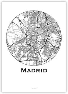 Cartel Madrid España Minimalista Mapa - City Map, decoración, regalo