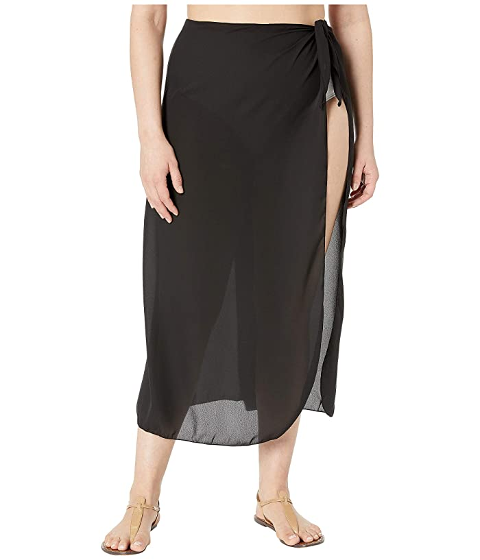 DOTTI Plus Size Long Summer Sarong Pareo Cover-Up (Black) Women