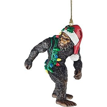 Design Toscano DB383084 Bigfoot, the Christmas yeti with Sabta's hat Funny Christmas tree decoration, polyresin, full color, 7.5 cm,Brown