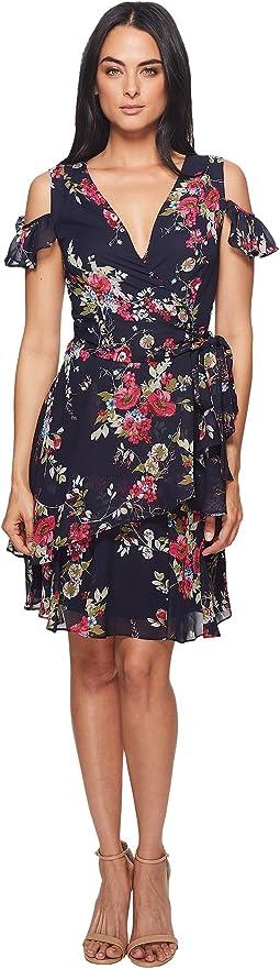 Cold Shoulder Printed Chiffon Wrap Dress