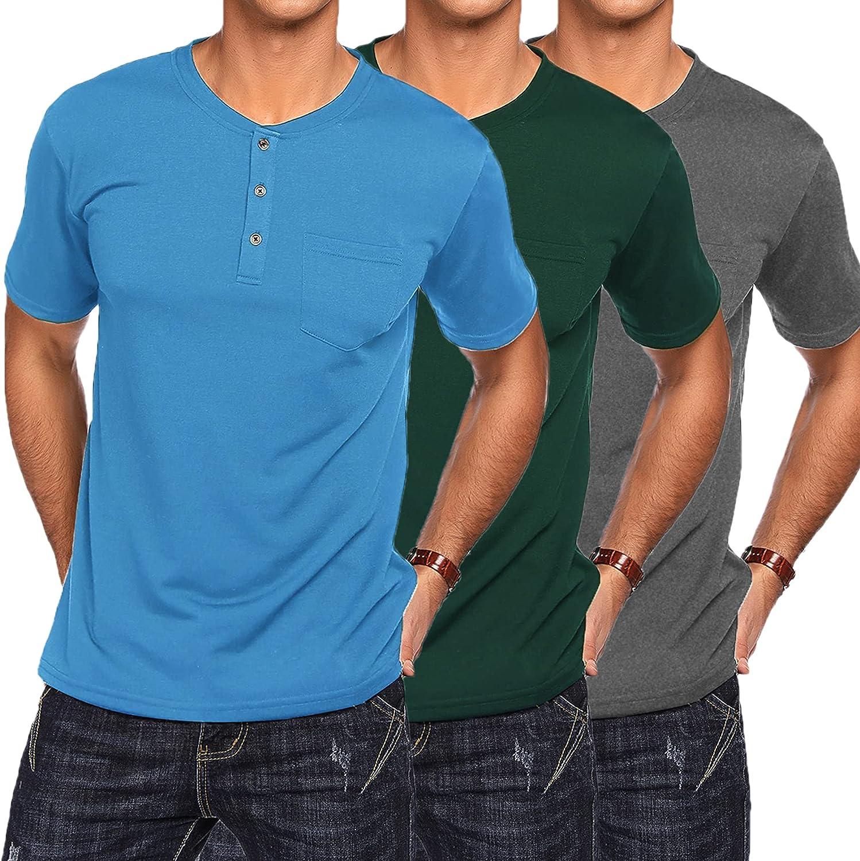 COOFANDY Men's 3Pack Henley 爆買いセール Shirts 本物 Casual Sleeve Basic Short Sum
