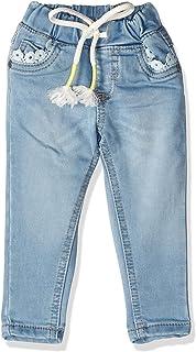 Giggles Slim-Fit Drawstring Elastic Waist Denim Pants For Girls
