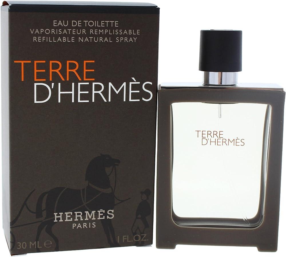 Hermes terre d`hermes, eau de toilette profumo spray per uomo, 30 ml 10008607