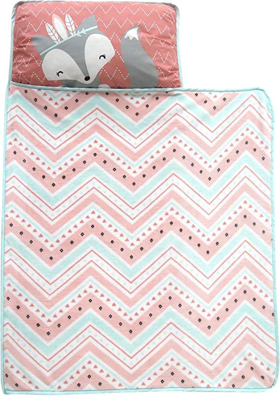 Lambs Ivy Little Spirit Nap Mat Coral Blue White