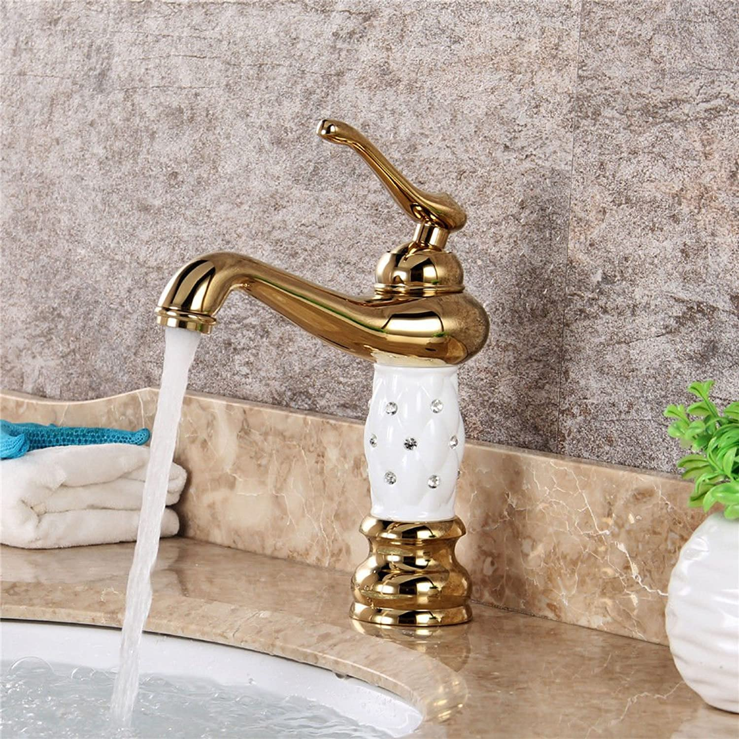 AQMMi Basin Sink Tap Bathroom Bar Faucet gold Plating White Single Lever 1 Hole Brass Single Lever Bathroom Basin Sink Faucet