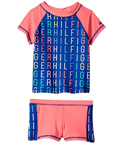 Tommy Hilfiger Kids Lilja Rashguard Swimsuit (Big Kids) (Jolt Pink) Girl