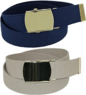 CTM Kid's Cotton Belt with Brass Military Buckle (Pack of 2 Colors)