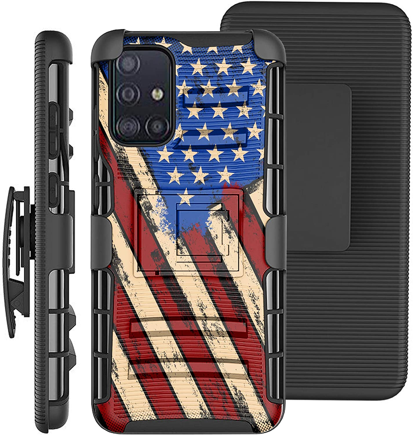 DALUX Hybrid Kickstand Holster Phone Case Compatible with Galaxy A71 5G (2020)- Graffiti US Flag Print