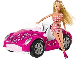 Simba Toys 105738332 - Steffi Loe Rosa cabriolet - Modedockan Steffi & bil, 29 cm, Från 3 år