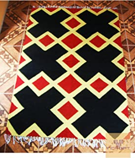 Peruvian rug genuine hand looms alpaca sheep wool Peru carpet vintage for living room bedroom Hand Geometric Wool Area Rug