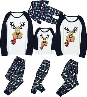 Pijamas de Navidad Familia para Mujer Hombre Niños Niña Estampado de Ciervos Camisetas De Manga Larga Sudadera Chándal Familia Conjunto riou