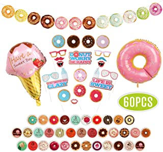 Donut Banners, Donut Food Theme Party Supplies Kit 22 PCS Donut Garland Photo Booth Props, 35 PCS Donut Sticker, 2 PCS Foil Balloon for Donut Grown Up Party Birthday Party Baby Shower Favor