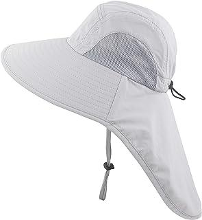 Kids Girls Boys Sun Hat Wide Brim UPF50+ Mesh Hats with...