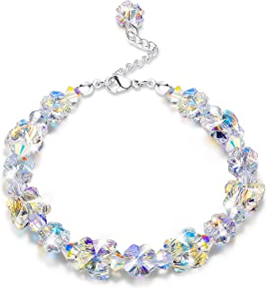 """Crystals Bracelets, Crystals from Swarovski, Butterfly Shaped Aurora Crystals Bracelets for Women Girls Link Chain Bracelets, Jewelry Gift for Christmas Day, 7""""+2"""""""