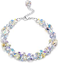 """KesaPlan Crystals Bracelets, Crystals from Swarovski, Butterfly Shaped Aurora Crystals Bracelets for Women Girls Link Chain Bracelets, Jewelry Gift for Christmas Day, 7""""+2"""""""