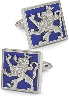 ZAUNICK Lion Cufflinks Sterling Silver & blue enamel Handcrafted