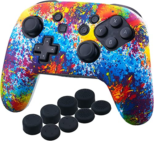 YoRHa Studded Silicone Transfer Print Cover Skin Case ONLY for Nitendo Official Switch Pro Controller x 1(Spashing Pa...