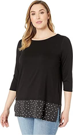 Plus Size 3/4 Sleeve Mix Media Polka Dot Hem Top