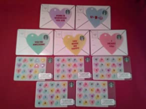 Starbucks Valentine's Day Gift Cards Set of 5 Die Cut Heart Shaped + 5 More