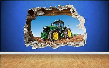 Tractor Boerderij Jongens Slaapkamer Dieren Land Smashed Muursticker 3D Art Stickers (Groot: 82cm x 58cm)