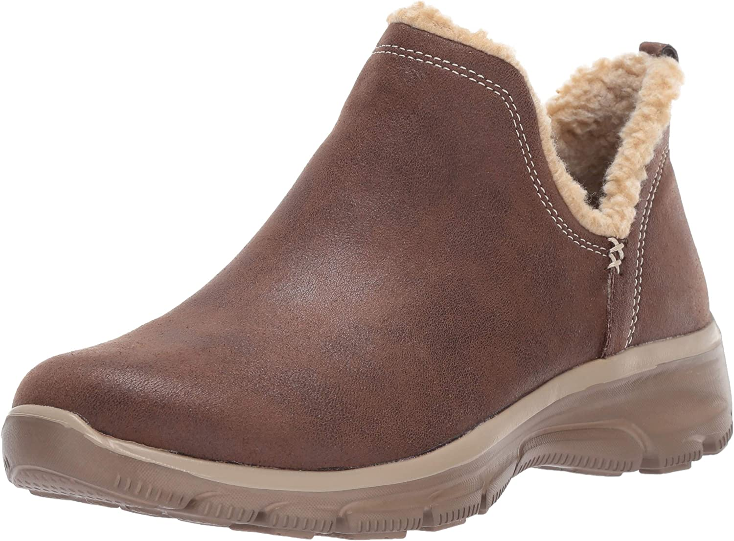 Skechers Womens Easy Going - Buried - Scooped Collar Bootie with Faux Fur Trim Ankle Boot