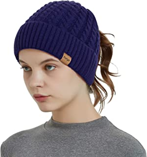 Aurya Womens Ponytail Messy Bun Beanie Winter Warm Stretchy Cable Knit Cuffed Beanie Hat Cap