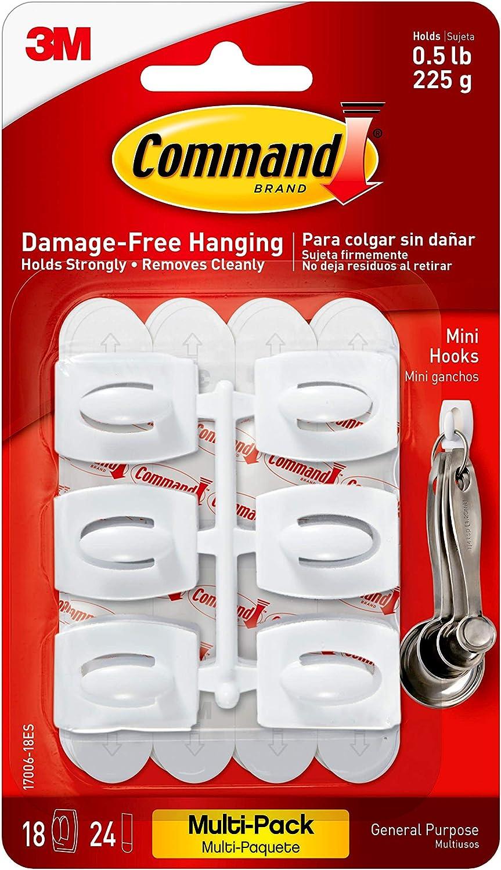 17006-18ES 18-Hooks Organize Damage-Free1 White Command Mini Hooks Value Pack
