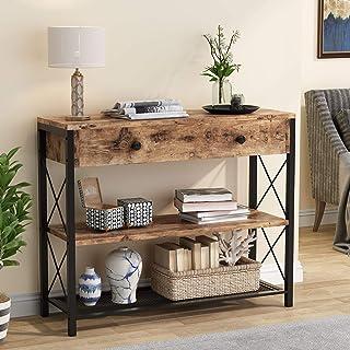 Tribesigns Table Console avec tiroir et étagères de Rangement à 2 Niveaux, Table de Couloir Console d'entrée Industrielle ...