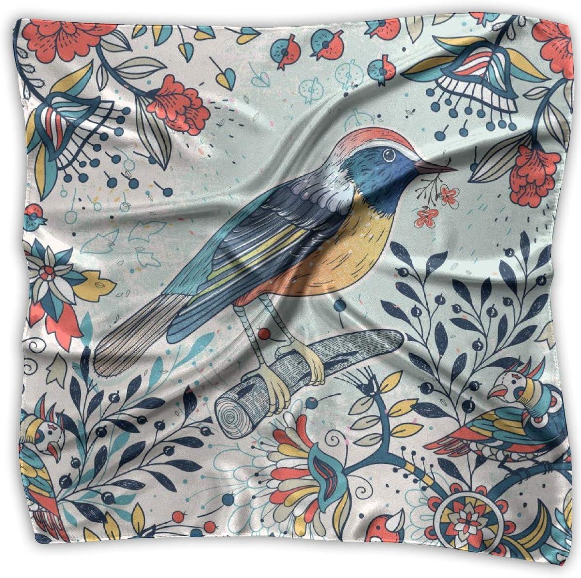 YANGZXC Vintage Colorful Birds Flowers Art Handkerchief Polyester Pocket Square Mulipurpose Silk Bandanas Delicate Printing