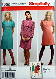 Simplicity Sewing Pattern 3559 1960's Retro Misses' Dress in Two Lengths Sizes 14-22