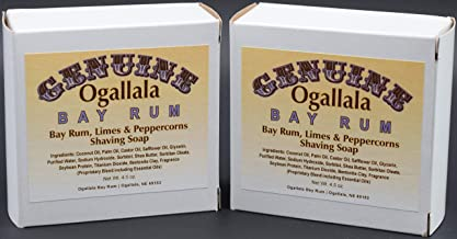 product image for Two (2) of Genuine Ogallala Bay Rum, Bay Rum-Limes & Peppercorns Shaving Soap - Each Puck 4.5 oz