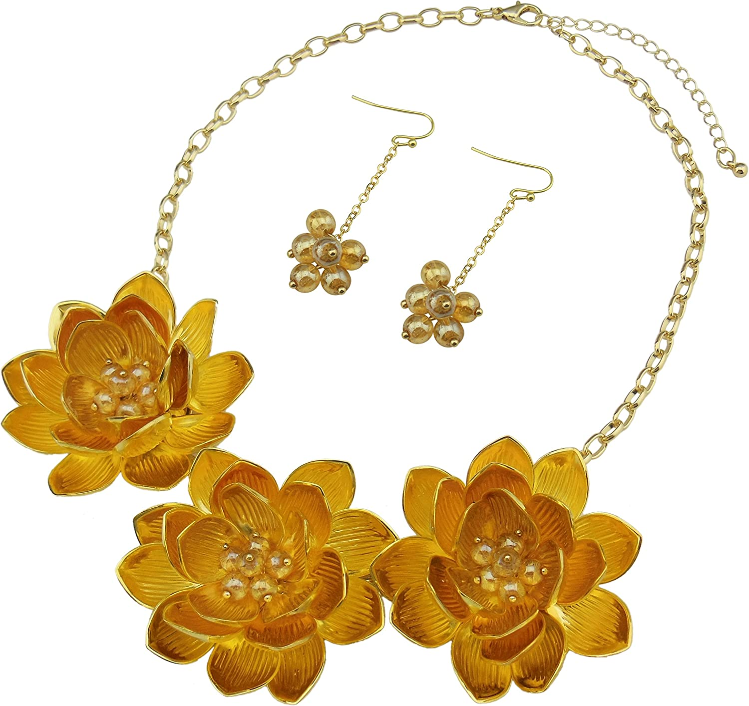 BOCAR Bib Statement Pendant Flower Jewelry Set Necklace and Earrings for Women Gift (NK-10372-golden)