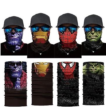 Iron Spider Bandanas Thanos Balaclava Face Mask Hulk Neck Gaiters for Men Dust, 4 Pack