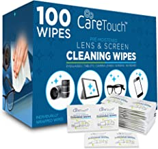 Care Touch Pre-Moistened Lens Cleaning Cloths   100 Individually Wrapped Wipes   Great for Eyeglasses, Tablets, Lenses, and Other Delicate Surfaces